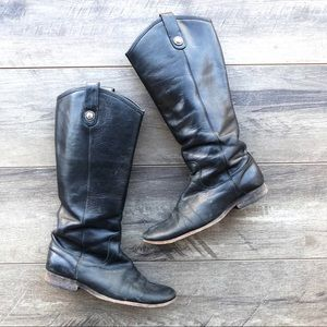 Frye tall black leather boots in need of repair